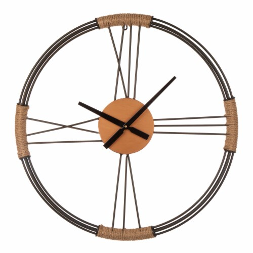 Glitzhome Farmhouse Moderrn Black Metal and Rope Wall Clock Perspective: front