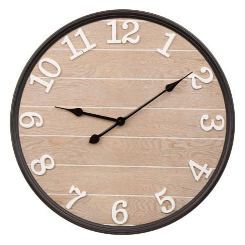 Glitzhome Farmhouse Modern Black Metal/Wooden Wall Clock Perspective: front