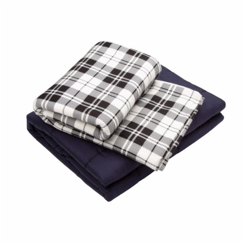 Glitzhome Cotton Quilted Weighted Blanket and Removable Duvet Cover Perspective: front