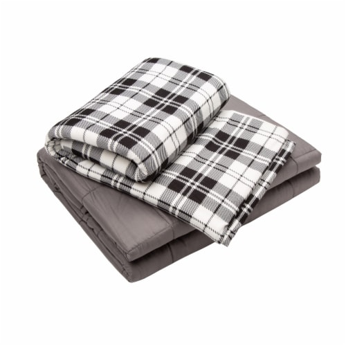 Glitzhome Cotton Quilted Weighted Blanket and Removable Duvet Cover - Shell Perspective: front