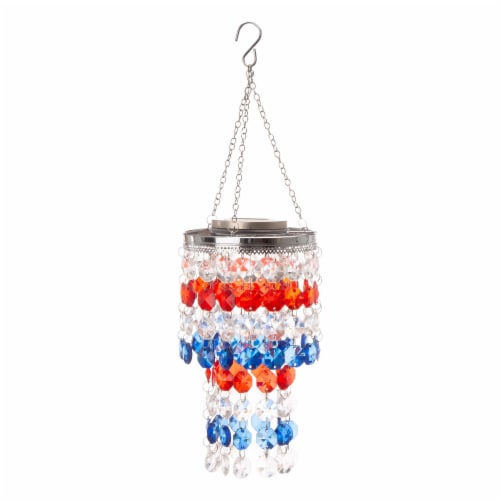 Glitzhome Patriotic Solar Lighted Hanging Decor Perspective: front
