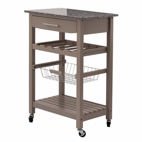 Glitzhome Rolling Kitchen Island with Marble Top - Warm Gray Perspective: front