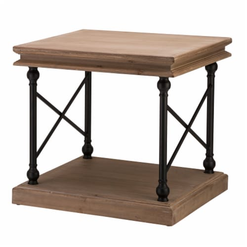 Glitzhome X-Shaped French Vintage Antiqued Finish Accent Table/Side Table Perspective: front