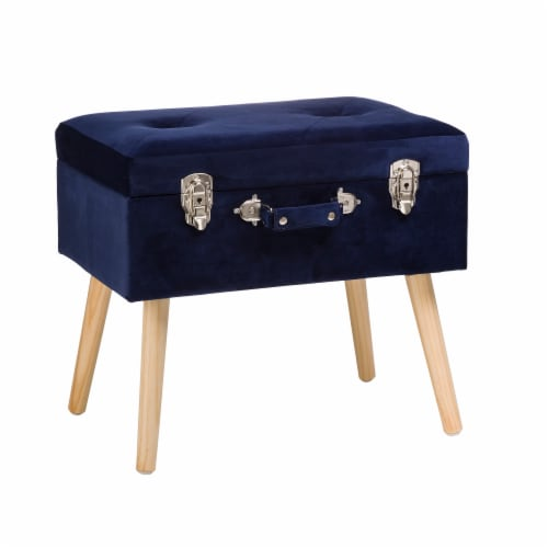 Glitzhome Velvet & Wooden Upholstered Storage Stool - Navy Blue Perspective: front