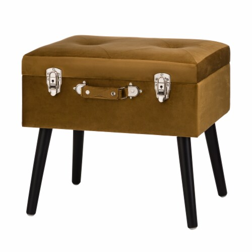 Glitzhome Velvet Upholstered Storage Stool with Legs - Gold Perspective: front