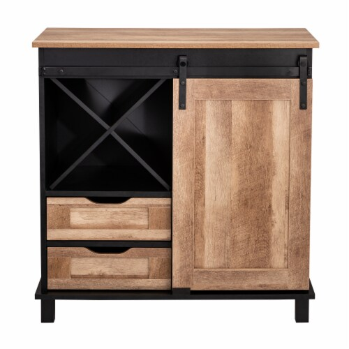 Glitzhome Modern Industrial Wine Cabinet with Sliding Door - Black / Natural Perspective: front