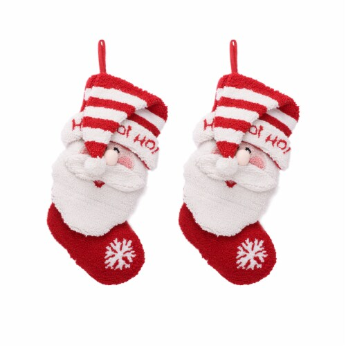 Glitzhome  Hooked Stocking with a Cute 3D Santa Design Perspective: front