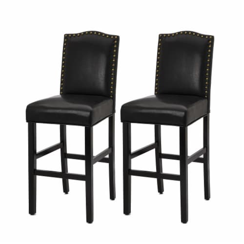 Glitzhome Studded Leatherette Barchair - Black Perspective: front