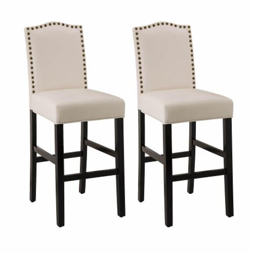 Glitzhome Studded Leatherette Barchair - Cream Perspective: front