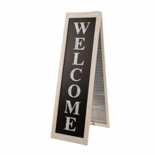 Glitzhome Wooden and Metal Welcome Porch Sign Perspective: front