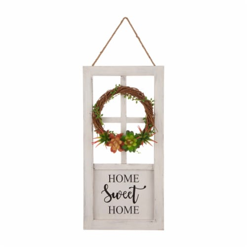 Glitzhome Wreath and Succulent Wooden Door Frame Wall Decoration Perspective: front