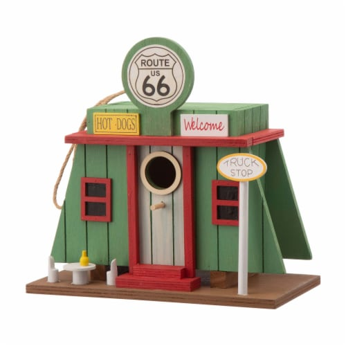 Glitzhome Wooden Truck-Stop Decorative Birdhouse Perspective: front