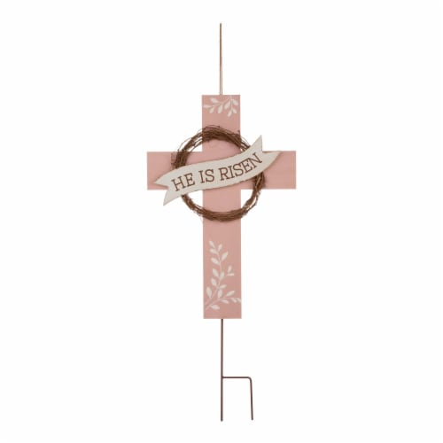 Glitzhome Easter He Is Risen Cross - Pink/White Perspective: front