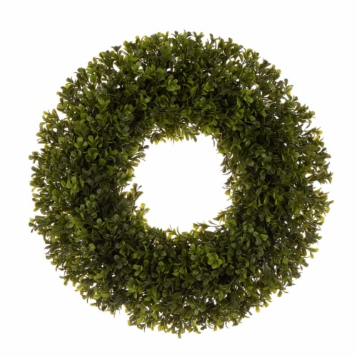 Glitzhome Spring and Summer Artificial Greenery Boxwood Wreath Perspective: front