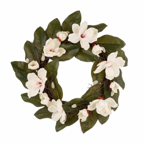 Glitzhome Spring and Summer Artificial Magnolia Wreath Perspective: front