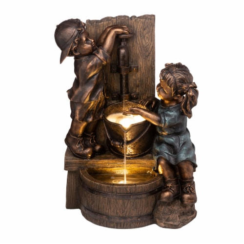 Glitzhome Boy and Girl Polyresin Sculptural Outdoor Fountain With Pump Perspective: front