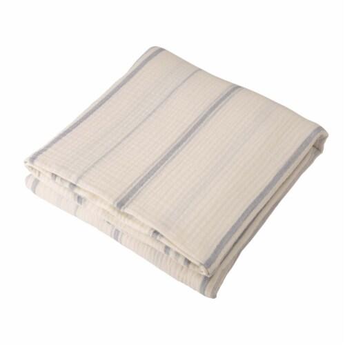Glitzhome Contemporary Cotton Stripe Quilt - White Perspective: front