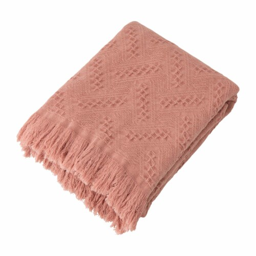 Glitzhome Grid Cotton Woven Tassel Throw Blanket - Coral Perspective: front