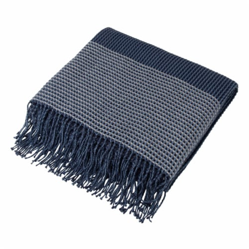 Glitzhome Contemporary Woven Tassel Throw Blanket - Indigo Perspective: front