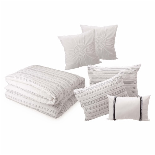 Glitzhome Rhythmic Melody Cotton Comforter Set - 6 Piece - White Perspective: front