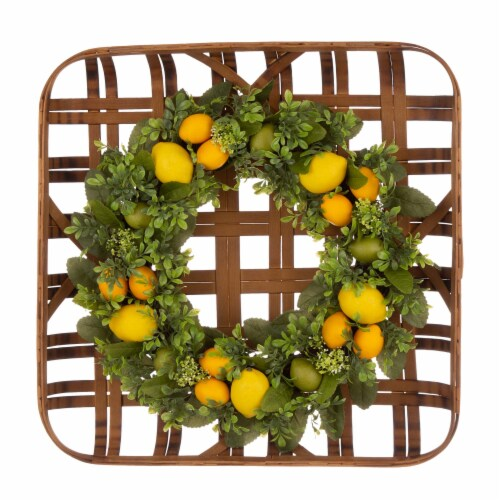 Glitzhome Bamboo Tobacco Basket with Greenery Lemon Wreath Perspective: front