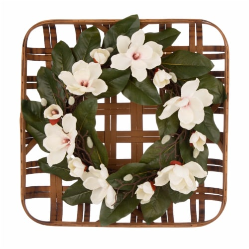 Glitzhome Bamboo Tobacco Basket with Artificial Magnolia Wreath Perspective: front