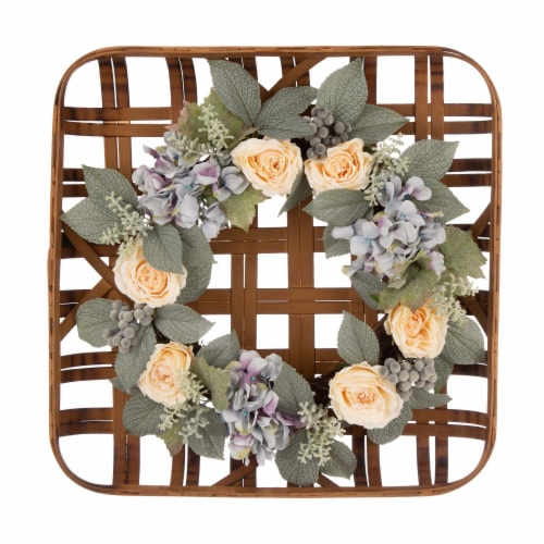 Bamboo Tobacco Basket with Hydrangea Rose Wreath Perspective: front