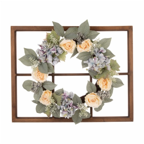 Glitzhome Wooden Window Frame with Hydrangea Rose Wreath Perspective: front