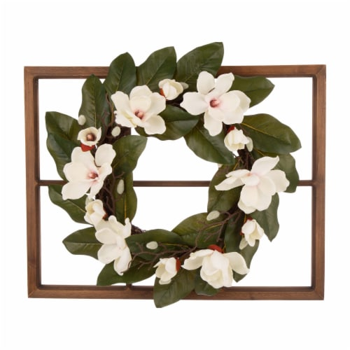 Glitzhome Wooden Window Frame with Artificial Magnolia Wreath Perspective: front