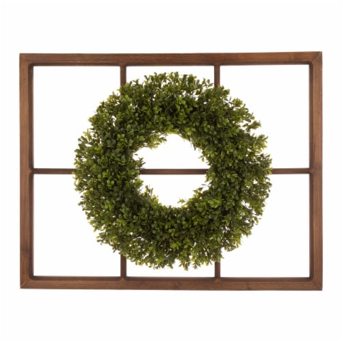 Glitzhome Boxwood Wreath & Wooden Window Frame Decoration Perspective: front
