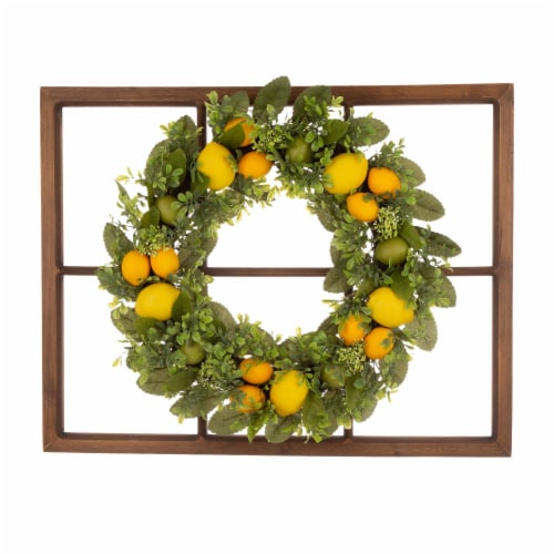 Glitzhome Wooden Window Frame with Greenery Lemmon Wreath Perspective: front