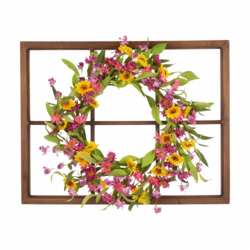 Glitzhome Wooden Window Frame with Artificial Chrysanthemum Wreath Perspective: front