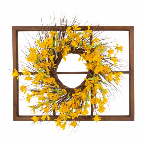 Glitzhome Wooden Window Frame With Artificial Winter Jasmine Wreath Perspective: front
