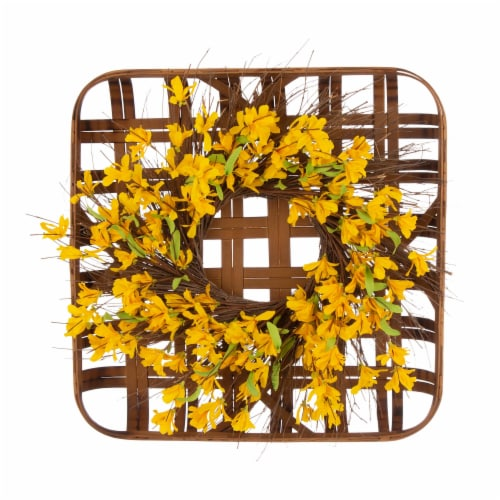 Glitzhome Bamboo Tobacco Basket With Artificial Winter Jasmine Wreath Perspective: front