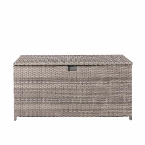 Glitzhome Outdoor Patio Garden Wicker Storage Deck Box - Gray / Cream Perspective: front