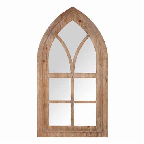 Glitzhome Gothic Style Window Frame Classic Wall Mirror Decor Perspective: front