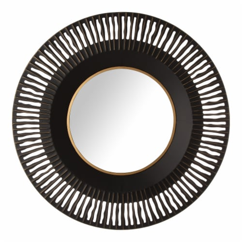 Glitzhome Vintage Industrial Metal Round Classic Wall Mirror Perspective: front