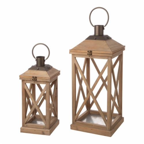 Glitzhome Modern Farmhouse Wooden Lantern - Brown Perspective: front