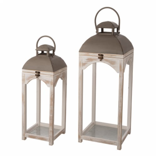 Glitzhome Modern Farmhouse Wooden Lantern - Natural Perspective: front