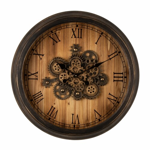 Glitzhome Vintage Industrial Oversized Wooden/Metal Wall Clock Perspective: front