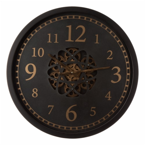 Glitzhome Modern Oversized Metal Wall Clock with Moving Gears Perspective: front