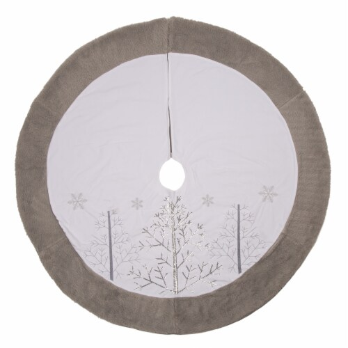 Glitzhome Fleece Christmas Tree Skirt - White/Gray Perspective: front