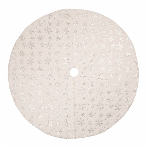 Glitzhome Plush Snowflake Christmas Tree Skirt - White Perspective: front