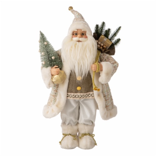 Glitzhome Christmas Santa Figurine - Gold/Silver Perspective: front