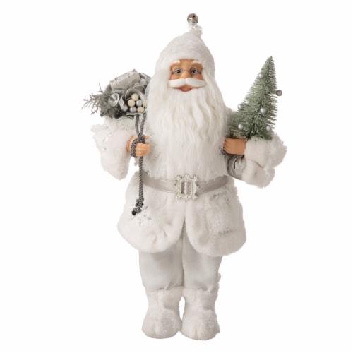Glitzhome Snowflake Santa Figurine Decoration Perspective: front