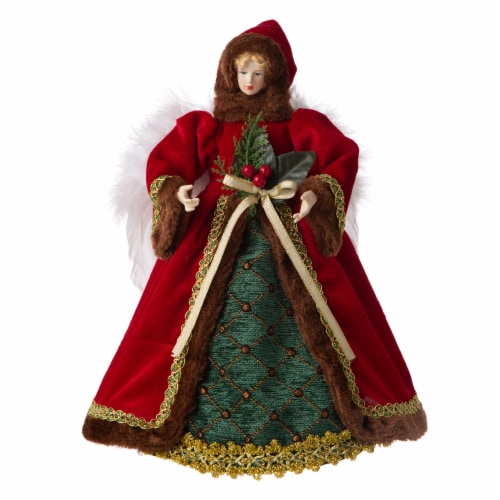 Glitzhome Christmas Angel Tree Topper - Red Perspective: front
