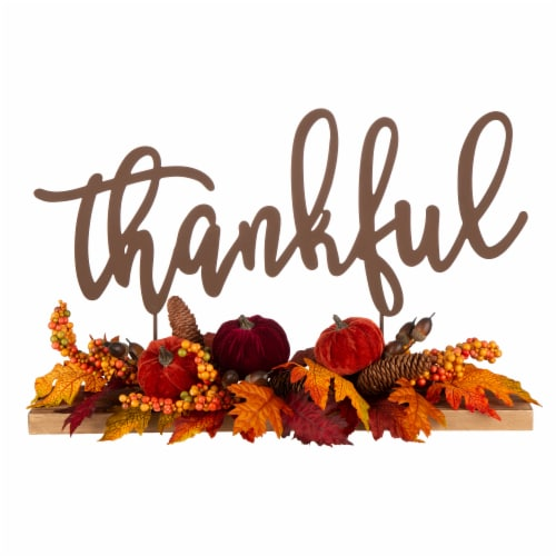 Glitzhome Metal Thankful Cutout Sign Floral Center Piece Perspective: front