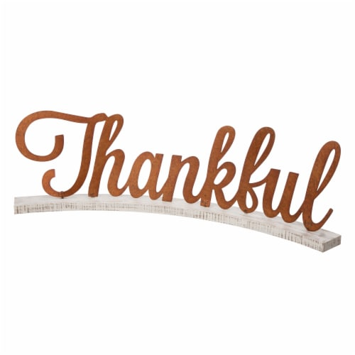 Glitzhome Vintage Style Wooden & Metal Thankful Fall Decoration Perspective: front
