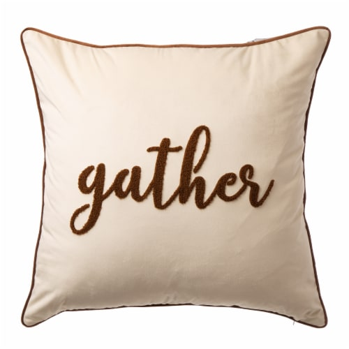 Glitzhome Velvet Gather Embroidered Pillow Cover Perspective: front