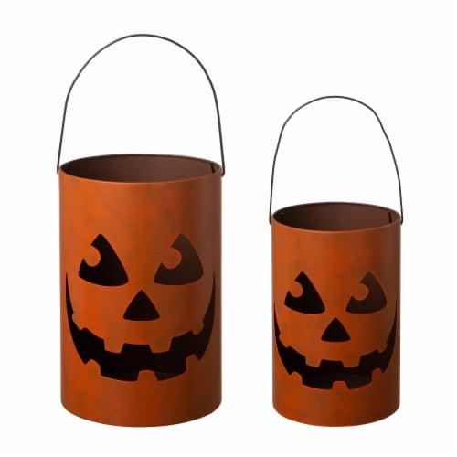 Glitzhome Halloween Jack O Lantern Buckets Perspective: front